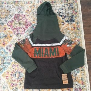 NWT university of Miami cowl hooded sweatshirt S